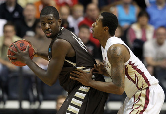 NASHVILLE, TN - MARCH 16:  Andrew Nicholson #44 of the St. Bonaventure Bonnies holds the ball against the Florida State Seminoles during the second round of the 2012 NCAA Men's Basketball Tournament at Bridgestone Arena on March 16, 2012 in Nashville, Ten