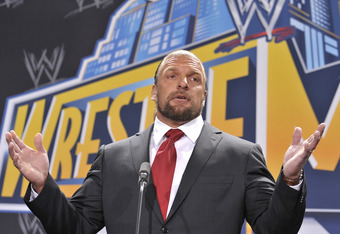 EAST RUTHERFORD, NJ - FEBRUARY 16: Triple H attends a press conference to announce that MetLife Stadium will host WWE Wrestlemania 29 in 2013 at MetLife Stadium on February 16, 2012 in East Rutherford, New Jersey. (Photo by Michael N. Todaro/Getty Images)
