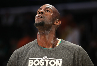 LOS ANGELES, CA - MARCH 11:  Kevin Garnett #5 of the Boston Celtics warms up for the game against the Los Angeles Lakers at Staples Center on March 11, 2012 in Los Angeles, California.  The Lakers won 97-94.  NOTE TO USER: User expressly acknowledges and