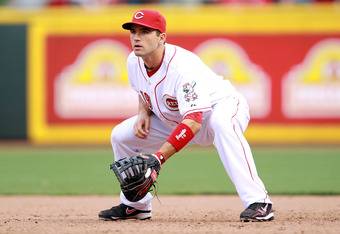 CINCINNATI, OH - APRIL 05:  Joey Votto #19 of the Cincinnati Reds plays the field during the game against the Miami Marlins on Opening Day at Great American Ball Park on April 5, 2012 in Cincinnati, Ohio.  (Photo by Andy Lyons/Getty Images)
