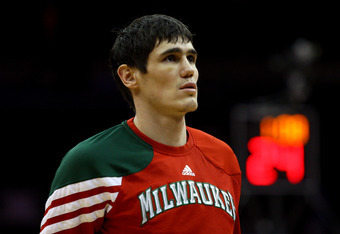 NEWARK, NJ - MARCH 12:  Ersan Ilyasova #7 of the Milwaukee Bucks looks on during warm ups against the New Jersey Nets at Prudential Center on March 12, 2012 in Newark, New Jersey.  NOTE TO USER: User expressly acknowledges and agrees that, by downloading