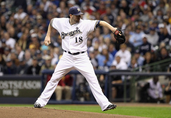 MILWAUKEE, WI - OCTOBER 16:  Shaun Marcum #18 of the Milwaukee Brewers throws a pitch against the St. Louis Cardinals during Game Six of the National League Championship Series at Miller Park on October 16, 2011 in Milwaukee, Wisconsin.  (Photo by Christi
