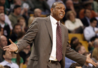 BOSTON, MA - MARCH 06:  head coach Doc Rivers of the Boston Celtics reacts to a call against one of his players in the second half against the Houston Rockets on March 6, 2012 at TD Garden in Boston, Massachusetts. The Boston Celtics defeated the Houston