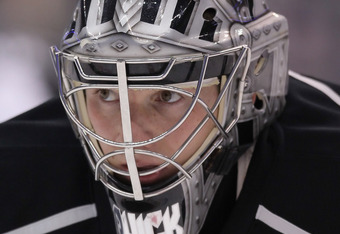 LOS ANGELES, CA - MARCH 20:  Goaltender Jonathan Quick #32 of the Los Angeles Kings looks on prior to the start of the game against the San Jose Sharks at Staples Center on March 20, 2012 in Los Angeles, California.  (Photo by Jeff Gross/Getty Images)