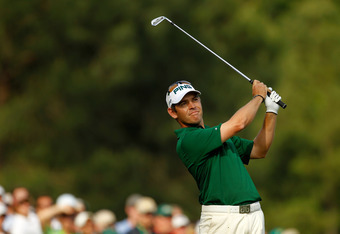 AUGUSTA, GA - APRIL 08:  Louis Oosthuizen of South Africa hits a tee shot on the 12th hole during the final round of the 2012 Masters Tournament at Augusta National Golf Club on April 8, 2012 in Augusta, Georgia.  (Photo by Streeter Lecka/Getty Images)