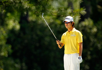 AUGUSTA, GA - APRIL 07: Kevin Na of the United States prepares to hit an approach shot on the first hole during the third round of the 2012 Masters Tournament at Augusta National Golf Club on April 7, 2012 in Augusta, Georgia.  (Photo by Streeter Lecka/Ge