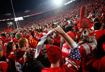 COLUMBUS, OH - OCTOBER 29:  Ohio State Buckeyes players and fans celebrate after defeating the Wisconsin Badgers 33-29 on October 29, 2011 at Ohio Stadium in Columbus, Ohio. (Photo by Kirk Irwin/Getty Images)
