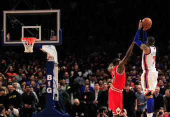 Carmelo Anthony leads his team to a victory over the Chicago Bulls in overtime