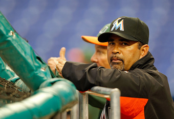 MIAMI, FL - MARCH 06:  Miami Marlins manager Ozzie Guillen looks on during a game against the University of Miami Hurricanes at Marlins Park on March 6, 2012 in Miami, Florida.  (Photo by Mike Ehrmann/Getty Images)