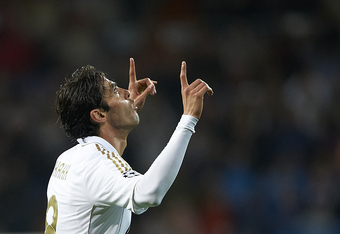MADRID, SPAIN - APRIL 04:  Kaka of Real Madrid celebrates after scoring during the UEFA Champions League quarter-final second leg match between Real Madrid and APOEL FC at Bernabeu on April 4, 2012 in Madrid, Spain.  (Photo by Manuel Queimadelos Alonso/Ge