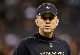 NEW ORLEANS, LA - JANUARY 07:  Head coach Sean Payton of the New Orleans Saints looks on during warms up prior to playing against the Detroit Lions at Mercedes-Benz Superdome during their 2012 NFC Wild Card Playoff game on January 7, 2012 in New Orleans,