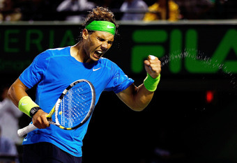 KEY BISCAYNE, FL - MARCH 28:  Rafael Nadal of Spain reacts to winning a match against Jo-Wilfried Tsonga of France during Day 10 of the Sony Ericcson Open at Crandon Park Tennis Center on March 28, 2012 in Key Biscayne, Florida.  (Photo by Mike Ehrmann/Ge