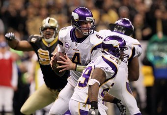 NEW ORLEANS - JANUARY 24:  Brett Favre #4 of the Minnesota Vikings drops back to pass against the New Orleans Saints during the NFC Championship Game at the Louisiana Superdome on January 24, 2010 in New Orleans, Louisiana.  (Photo by Jed Jacobsohn/Getty