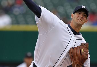 DETROIT, MI - APRIL 10:  Rick Porcello #48 of the Detroit Tigers throws a fourth inning pitch while playing the Tampa Bay Rays at Comerica Park on April 10, 2012 in Detroit, Michigan.  Detroit won the game 5-2. (Photo by Gregory Shamus/Getty Images)