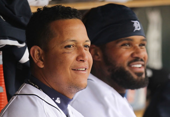 DETROIT, MI - APRIL 10: Miguel Cabrera #24 and Prince Fielder #28 of the Detroit Tigers look on from the dugout while playing the Tampa Bay Rays at Comerica Park on April 10, 2012 in Detroit, Michigan. Detroit won the game 5-2. (Photo by Gregory Shamus/Ge