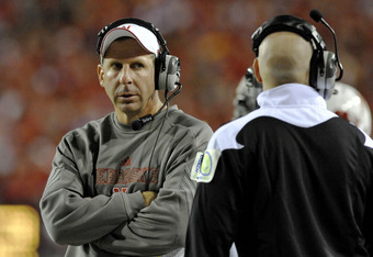 LINCOLN, NE - SEPTEMBER 25: Coach Bo Pelini of the Nebraska Cornuskers eyes his defensive coaching slaff during second half action of their game against the South Dakota State Jackrabbits at Memorial Stadium on September 25, 2010 in Lincoln, Nebraska. Neb