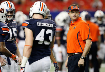 ATLANTA, GA - DECEMBER 31:  Offensive coordinator and Quarterbacks coach Gus Malzahn of the Auburn Tigers against the Virginia Cavaliers during the 2011 Chick Fil-A Bowl at Georgia Dome on December 31, 2011 in Atlanta, Georgia.  (Photo by Kevin C. Cox/Get