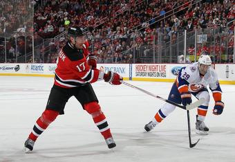 NEWARK, NJ - APRIL 03: Ilya Kovalchuk #17 of the New Jersey Devils skates against the New York Islanders at the Prudential Center on April 3, 2012 in Newark, New Jersey. The Devils defeated the Islanders 3-1.  (Photo by Bruce Bennett/Getty Images)