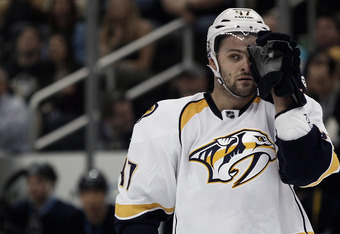 PITTSBURGH, PA - MARCH 22:  Alexander Radulov #47 of the Nashville Predators skates against the Pittsburgh Penguins for the first time in the NHL in four years during the game on March 22, 2012 at CONSOL Energy Center in Pittsburgh, Pennsylvania.  (Photo