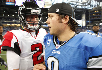 DETROIT, MI - OCTOBER 23: Quarterbacks Matt Ryan #2 of the Atlanta Falcons and Matthew Stafford #9 of the Detroit Lions shake hands after the game at Ford Field on October 23, 2011 in Detroit, Michigan. The Falcons defeated the Lions 23-16.  (Photo by Leo