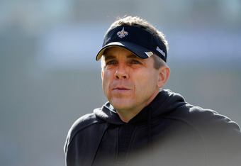 SAN FRANCISCO, CA - JANUARY 14:  Head coach Sean Payton of the New Orleans Saints watches his team before they take on the San Francisco 49ers in the NFC Divisional playoff game at Candlestick Park on January 14, 2012 in San Francisco, California.  (Photo