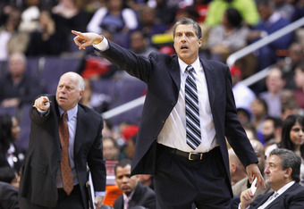 WASHINGTON, DC - FEBRUARY 29: Head coach Randy Wittman of the Washington Wizards motions to his players from the bench during the first half against the Orlando Magic at the Verizon Center on February 29, 2012 in Washington, DC. NOTE TO USER: User express
