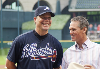 Chipper Jones (left) helped the Braves to their first win of the season Tuesday night against the Houston Astros.