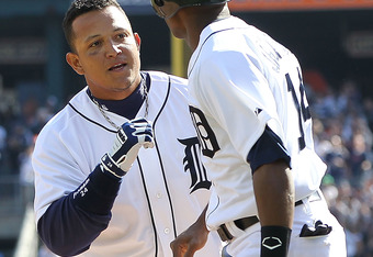 DETROIT, MI - APRIL 07: Miguel Cabrera #24 of the Detroit Tigers hits a two run home run in the first inning and celebrates with teammate Austin Jackson #14 during the game against the Detroit Tigers at Comerica Park on April 7, 2012 in Detroit, Michigan.