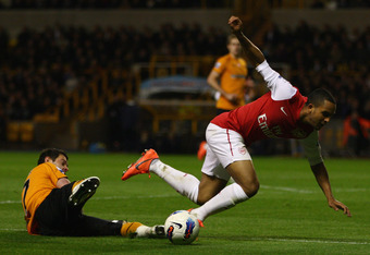 Theo Walcott won a penalty for Arsenal.