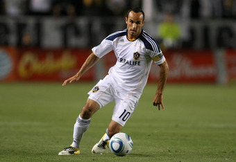 CARSON, CA - APRIL 23:  Landon Donovan #10 of the Los Angeles Galaxy paces the ball on the attack against the Portland Timbers during the MLS match at The Home Depot Center on April 23, 2011 in Carson, California. The Galaxy defeated the Timbers 3-0.  (Ph
