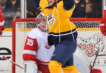 NASHVILLE, TN - APRIL 11:  Matt Halischuk #24 of the Nashville Predators celebrates after a goal against the Detroit Red Wings in Game One of the Western Conference Quarterfinals during the 2012 NHL Stanley Cup Playoffs at the Bridgestone Arena on April 1