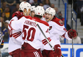 Mikkel Boedker (r) and Antoine Vermette (50) need to score to help balance the Coyotes attack.