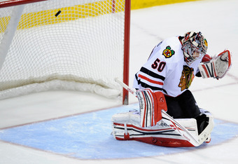 "Hawks' Cory Crawford cannot give up ""soft goals"" in the series.."