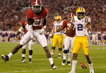 TUSCALOOSA, AL - NOVEMBER 05:  Dre Kirkpatrick #21 of the Alabama Crimson Tide reacts next to  Rueben Randle #2 of the LSU Tigers during the second half of the game at Bryant-Denny Stadium on November 5, 2011 in Tuscaloosa, Alabama.  (Photo by Streeter Le