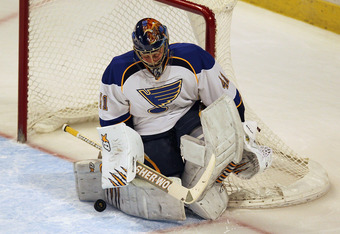 CHICAGO, IL - MARCH 29:  Jaroslav Halak #41 of the St. Louis Blues makes a save against the Chicago Blackhawks at the United Center on March 29, 2012 in Chicago, Illinois. The Blackhawks defeated the Blues 4-3 in a shootout.  (Photo by Jonathan Daniel/Get