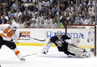 PITTSBURGH, PA - APRIL 11:  Danny Briere #48 of the Philadelphia Flyers scores past Marc-Andre Fleury #29 of the Pittsburgh Penguins in Game One of the Eastern Conference Quarterfinals during the 2012 NHL Stanley Cup Playoffs at Consol Energy Center on Ap