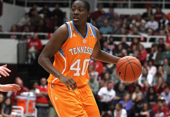 PALO ALTO, CA - DECEMBER 20:  Shekinna Stricklen #40 of the Tennessee Lady Volunteers in action against the Stanford Cardinal at Maples Pavilion on December 20, 2011 in Palo Alto, California.  (Photo by Ezra Shaw/Getty Images)