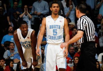 ATLANTA, GA - MARCH 11:  (L-R) Harrison Barnes #40 and Kendall Marshall #5 of the North Carolina Tar Heels react after Barnes was called for a blocking foul against the Florida State Seminoles during the Final Game of the 2012 ACC Men's Basketball Confere