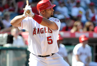 ANAHEIM, CA - APRIL 08:  Albert Pujols #5 of the Los Angeles Angels at bat during the game against the Kansas City Royals at Angel Stadium of Anaheim on April 8, 2012 in Anaheim, California.  (Photo by Harry How/Getty Images)