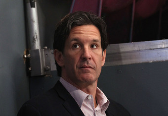 NEW YORK, NY - APRIL 17:  Former New York Ranger and current NHL Executive Brendan Shanahan looks on prior to the New York Rangers hosting the Washington Capitals in Game Three of the Eastern Conference Quarterfinals during the 2011 NHL Stanley Cup Playof
