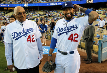 LOS ANGELES, CA - APRIL 15:  Matt Kemp #27 of the Los Angeles Dodgers (R, wearing #42) laughs with Don Newcombe, former Brooklyn Dodgers teammate of Jackie Robinson, before the game with the St. Louis Cardinals as Major League Baseball celebrates Jackie R