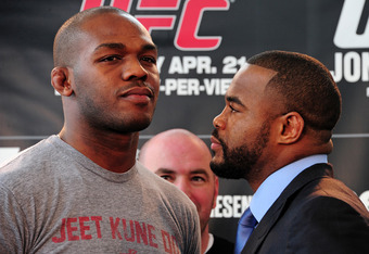 ATLANTA, GA - FEBRUARY 16: Fighters Jon Jones (L) and Rashad Evans pose after a press conference promoting UFC 145: Jones v Evans at Philips Arena on February 16, 2012 in Atlanta, Georgia. (Photo by Scott Cunningham/Getty Images)