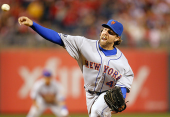 PHILADELPHIA, PA - APRIL 13: R.A. Dickey #43 of the New York Mets delivers a pitch during the game against the Philadelphia Phillies at Citizens Bank Park on April 13, 2012 in Philadelphia, Pennsylvania. The Mets won 5-2. (Photo by Brian Garfinkel/Getty I