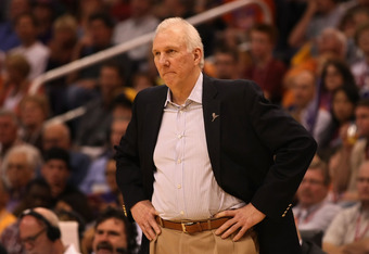 PHOENIX, AZ - MARCH 27:  Head coach Gregg Popovich of the San Antonio Spurs reacts during the NBA game against the Phoenix Suns at US Airways Center on March 27, 2012 in Phoenix, Arizona. The Spurs defeated the Suns 107-100. NOTE TO USER: User expressly a