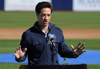 PHOENIX, AZ - FEBRUARY 24:  Ryan Braun #8 of the Milwaukee Brewers talks to the media prior to spring workouts at Maryvale Baseball Park on February 24, 2012 in Phoenix, Arizona.  (Photo by Norm Hall/Getty Images)
