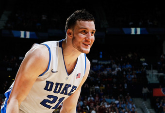 ATLANTA, GA - MARCH 10:  Miles Plumlee #21 of the Duke Blue Devils reacts after the ball was called out on the Devils in the second half against the Florida State Seminoles during the semifinals of the 2012 ACC Men's Basketball Conferene Tournament at Phi