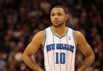 PHOENIX, AZ - DECEMBER 26:  Eric Gordon #10 of the New Orleans Hornets during the season openning NBA game against the Phoenix Suns at US Airways Center on December 26, 2011 in Phoenix, Arizona.  The Hornets defeated the Suns 85-84. NOTE TO USER: User exp