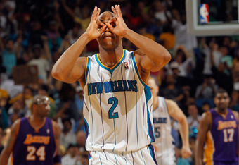 NEW ORLEANS, LA - MARCH 14:  Jarrett Jack #2 of the New Orleans Hornets reacts after a three point shot against the Los Angeles Lakers at the New Orleans Arena on March 14, 2012 in New Orleans, Louisiana.   The Lakers defeated the Hornets 107-101.  NOTE T