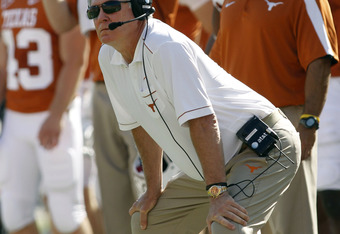 AUSTIN, TX - OCTOBER 15:  Head coach Mack Brown of the Texas Longhorns against the Oklahoma State Cowboys on October 15, 2011 at Darrell K. Royal-Texas Memorial Stadium in Austin, Texas.  Oklahoma State beat Texas 38-26.  (Photo by Erich Schlegel/Getty Im