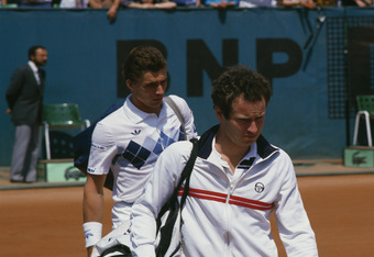 John McEnroe (left) and Ivan Lendl at the men's singles final of the Tournoi de Roland-Garros (French Open), at the Stade Roland Garros, Paris, June 1984. Lendl won the match 3-6, 2-6, 6-4, 7-5, 7-5. (Photo by Steve Powell/Getty Images)